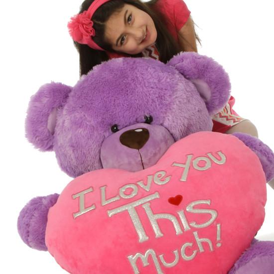 3 1/2ft Purple Valentine's Day Teddy Bear Sewsie Big Love (close up)