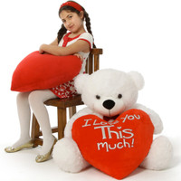 """Coco Cuddles is ready for romance with red """"I love you This much!"""" heart pillow 38in"""