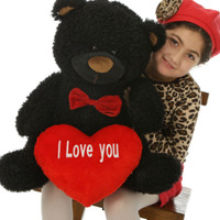 "Ricardo Fluffy Shags welcomes Valentine's Day with a red ""I Love you"" heart and red bowtie 25in"