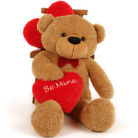 "3 Foot ""Be Mine"" Valentine's Day teddy bear, Shaggy Cuddles"