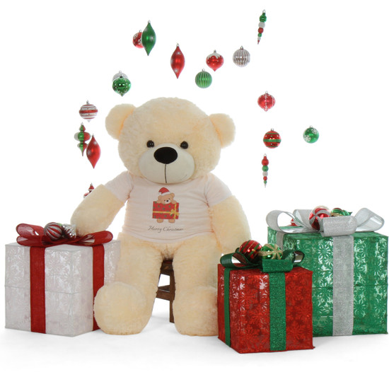cutest softest Merry Christmas 4ft Life Size Cream Teddy Bear Cozy Cuddles
