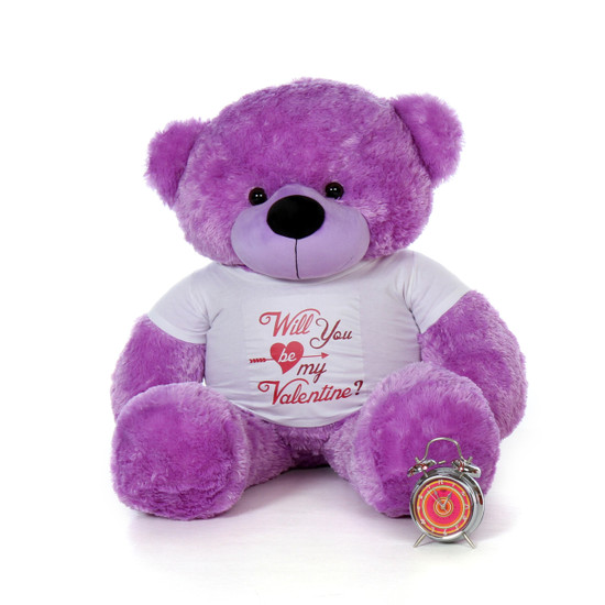 """4ft Huge Life Size Purple Valentine's Day Teddy Bear Dee Dee Cuddles wearing a """"Will You Be My Valentine?"""" Shirt"""