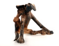 Brindle Scratching Dog by Virginia Dowe Edwards