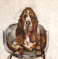 PRINT Basset Hound on Bucket Seat by Jenni Cator