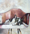 PRINT Boston Terrier on Red Chair by Jenni Cator
