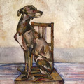 ORIGINAL Whippet on Dining Chair by Jenni Cator