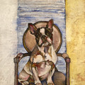 ORIGINAL French Bulldog on Ornate Chair by Jenni Cator