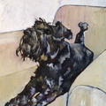 ORIGINAL Schnauzer on Cream Chair by Jenni Cator