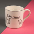 Been Eating Winalot All My Life and Never Won a Thing - Off the Leash' Creamware Mug by Rupert Fawcett