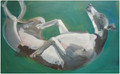 Rolling Whippet an Oil Painting by Sally Muir