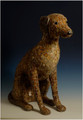Brown Mosaic Dog Sculpture by Sue Edkins