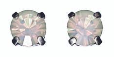 Pilgrim White Opal Swarovski Crystal Stud Earrings Silver Plated