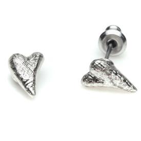 Pilgrim Funky Heart  Stud Earrings Silver Plated Crystal 60121-6043