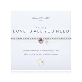 Joma A Little Love Is All You Need  Bracelet Silver Bracelet with Rose Gold Heart