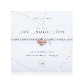 Joma A Little Live Laugh Love  Bracelet Silver Bracelet with Rose Gold Heart