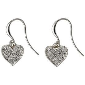 Pilgrim Crystal Heart Drop Earrings Silver Plated  611616063