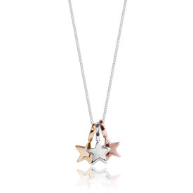 Joma Florence Stars Silver, Gold & Rose Gold Stars Necklace + Gift Bag/Tag