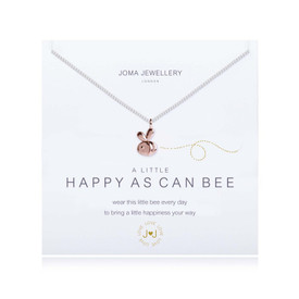 Joma A Little Happy As Can Bee  Necklace Silver Bracelet with Rose Gold Heart