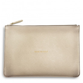 Katie Loxton 'Good As Gold' Perfect Pouch/Clutch Bag Metallic Gold