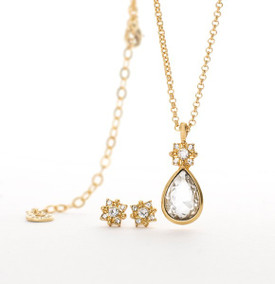 Pilgrim Gold Plated Crystal Necklace + Stud Earrings Gift Set