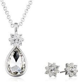 Pilgrim Silver Plated Crystal Necklace + Stud Earrings Gift Set