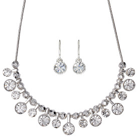 Pilgrim Classic Drop Crystals Necklace Silver Plated 38cm + Extender + Drop Earrings Set