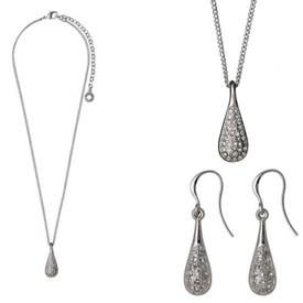 Pilgrim Crystal Teardrop Necklace + Drop Earrings Gift Set