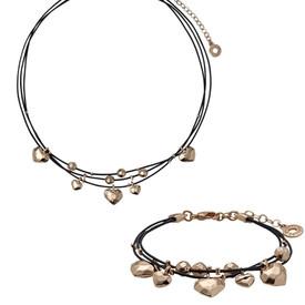 Pilgrim Leather Hearts Necklace  Rose Gold+ Bracelet Gift Set