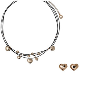 Pilgrim Leather Hearts Necklace + Stud Earrings  Rose Gold Gift Set