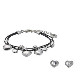 Pilgrim Leather Hearts Bracelet Silver Plated+ Stud Earrings Gift Set