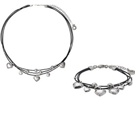 Pilgrim Leather Hearts Necklace  Silver + Bracelet Gift Set