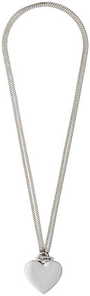 Pilgrim Chunky Heart Necklace Silver Plated 2 In 1 45cm/90cm 60133-6051