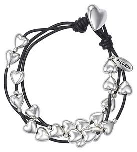 Pilgrim Bracelet Hearts Leather Hematite