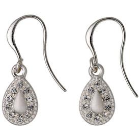 Pilgrim Drop Earrings Silver Plated Crystal 611636083