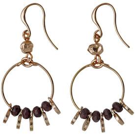 Pilgrim Substance Drop Earrings Rose Gold Plated Purple 211634513