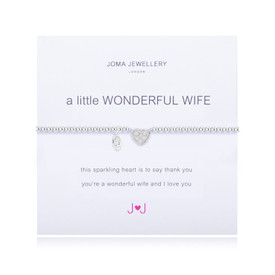 Joma Jewellery A Little Wonderful Wife Silver Plated  Bracelet + Gift Bag/Tag