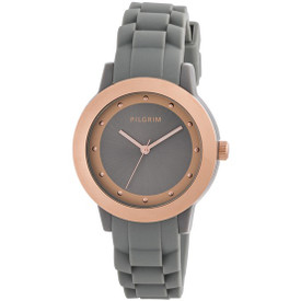 Pilgrim Watch Rose Gold Plated Grey  With Rubber Strap 701534120 + Gift Box