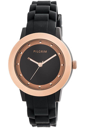 Pilgrim Watch Rose Gold Plated Black With Rubber Strap 701534130