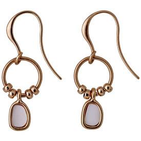 Pilgrim EIDA Drop Earrings Rose Gold Plated Cream 211714013