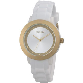 Pilgrim Watch Gold Plated White With Rubber Strap 701612000