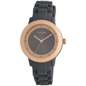 Pilgrim Watch Rose Gold Plated With Grey Rubber Strap 701634100