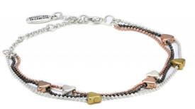 Pilgrim  Gold, Silver and Hematite Plated Bracelet 16121-7102
