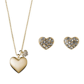 Pilgrim Heart Necklace Gold Plated Crystal + Stud Earrings Gift Set 901642000