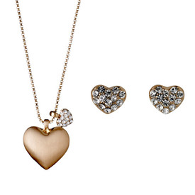 Pilgrim Heart Necklace Rose Gold Plated Crystal + Stud Earrings Gift Set 901644000