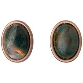 Pilgrim Morrigan Stud Earrings Rose Gold Plated Green 201744403