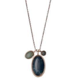 Pilgrim Morrigan Necklace Rose Gold Plated Green 50cm 201744411