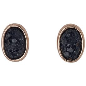 Pilgrim Aileas Stud Earrings Rose Gold Plated Black 181744103