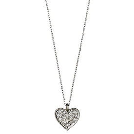 Pilgrim Crystal Heart Necklace Silver Plated 40cm  601616041