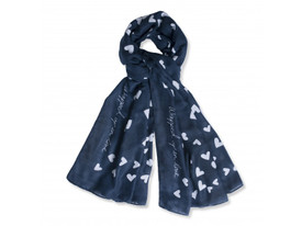 KATIE LOXTON WRAPPED UP IN LOVE NAVY HERRINGBONE SCARF