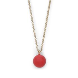 Pilgrim Agnes Necklace Gold  Plated Red 45+ 9cm